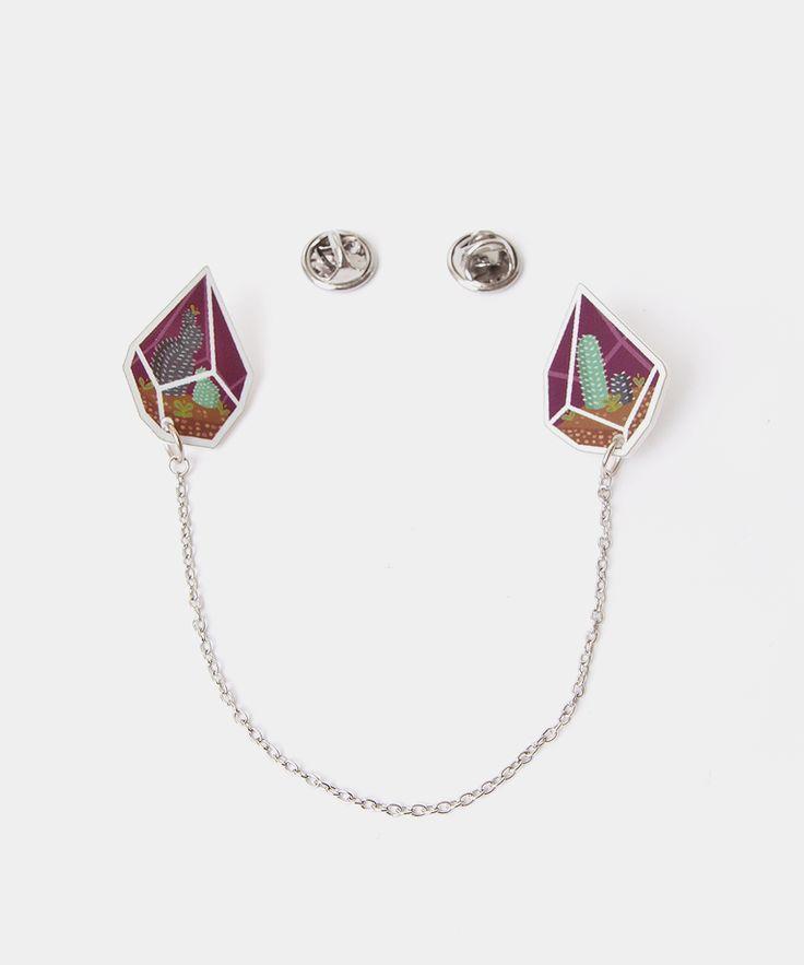 Tiny Terrarium collar clips in Lichen, pin, button, tie clip, shirt clip, accessory