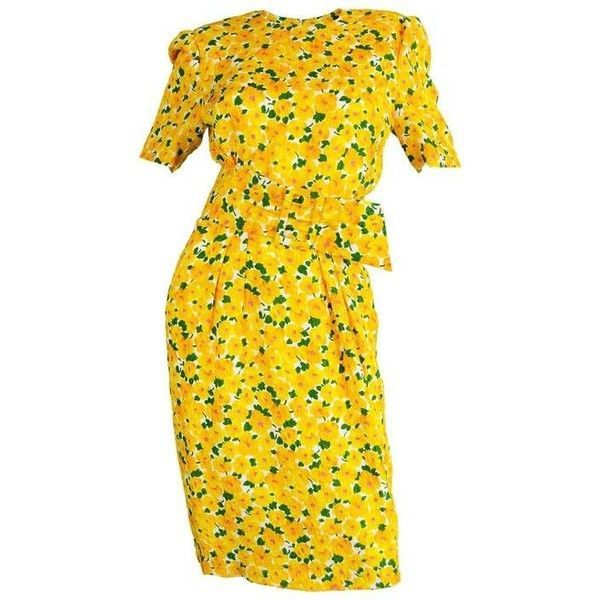 Preowned Vintage 1980s Hardy Amies Demi Couture Yellow Floral Silk... ($462) ❤ liked on Polyvore featuring dresses, tea gowns, yellow, floral summer dresses, vintage tea party dresses, yellow dress, vintage floral dress and long-sleeve floral dresses