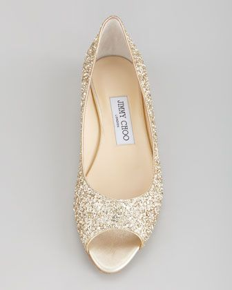 Jimmy Choo Beck Open Toe Glitter Flat Champagne Neiman Marcus Shoes Pinterest Wedding And Flats