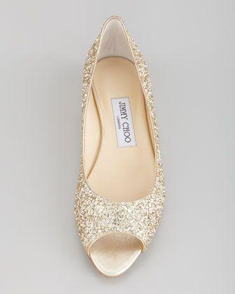 Jimmy Choo Beck Open Toe Glitter Flat Champagne