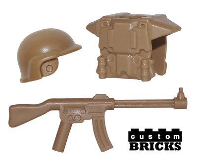 1 Set Minifigure ARMY Military Gear - Helmet, Vest & Military Gun Accessories