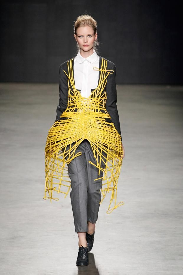Sculptural Fashion - rigid cage construct over tailored apparel; wearable sculpture // Judith van Vliet SS13