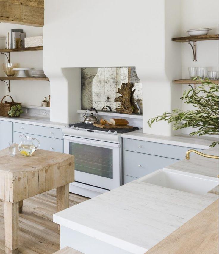 Marie Flanigan Interiors - Rangehood Run Down - White Plaster Range Hood - Open Wood Shelving - Blue Cabintery - Butcher Block Island