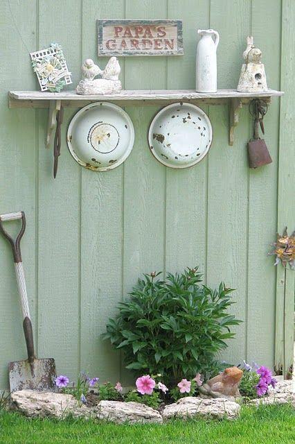 Garden decor, using repurposed pieces. Link has some creative garden decor.