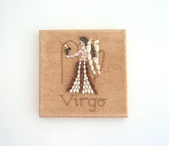 Virgo Star Sign, Seashell Mosaic on Sand, Artwork with Seashells and Sand, Mosaic Art, 3D Art Collage, Home Decor, Wall Art Decor, Gift Idea #ArtworkwithSeashells #mosaiccollage #seashellmosaic #homedecor #walldecor #3D