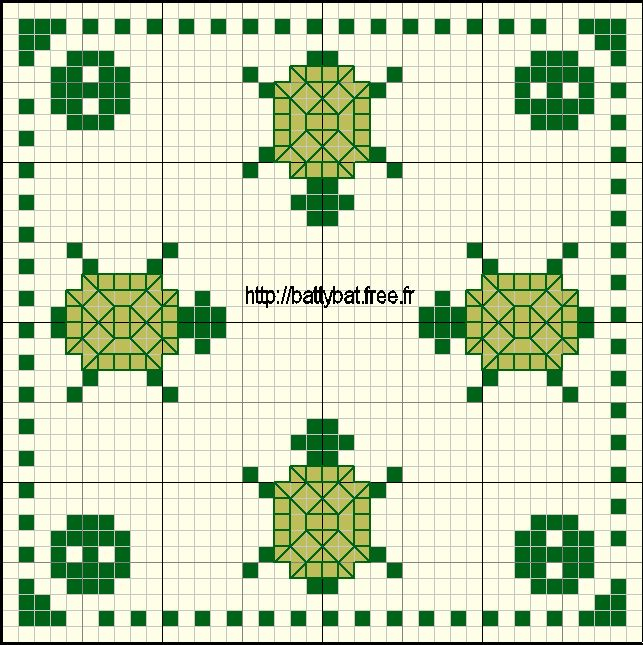 biscornu free patterns | Free Biscornu Turtle http://battybat.free.fr/images/grilles/biscornu11 ...