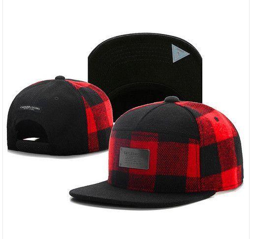 Red black grid wool snapback hat