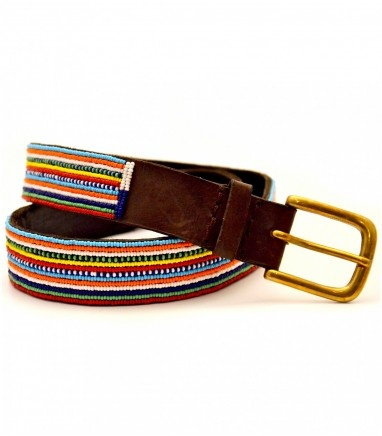 These stylish leather belts are 1.25 inches wide (which will fit through all belts loops) and have a small chunky brass or nicel buckle. The belt is fully beaded (which takes a whole day to hand sewn). We now have a variety of different colours, so you can now match your belt with your flip flops, or simply enjoy the luxury of a having a different belt for every occasion !