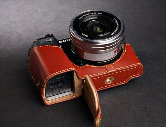 Sony A6000 Case, Sony A6000 leather cameras case, Sony Camera Case, Simple Half Leather Camera Case Bag