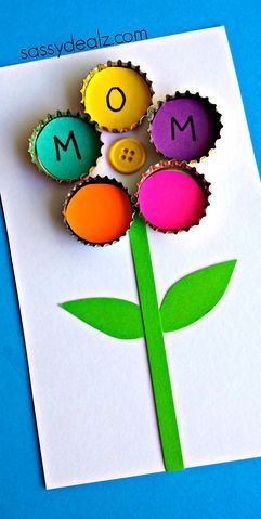 Bottle Cap Flower Craft for Kids - Great Mother's Day card idea