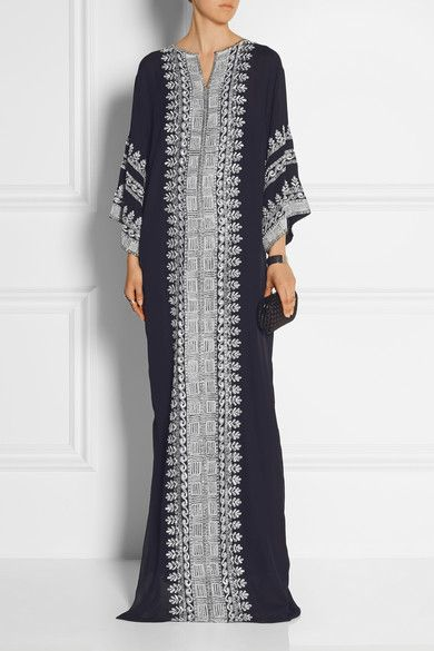 Oscar de la Renta | Embellished embroidered silk-georgette gown | NET-A-PORTER.COM