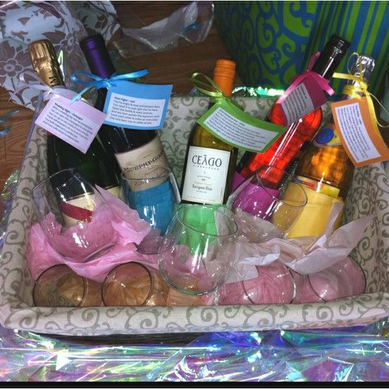 Bridal shower wine basket idea! 5 bottles of wine each with a poem for firsts: champagne for first night married, red wine for first fight, white wine for first Christmas eve, rosé for first anniversary & sparkling apple juice cider for first baby. Then you can add champagne flutes or wine glasses.