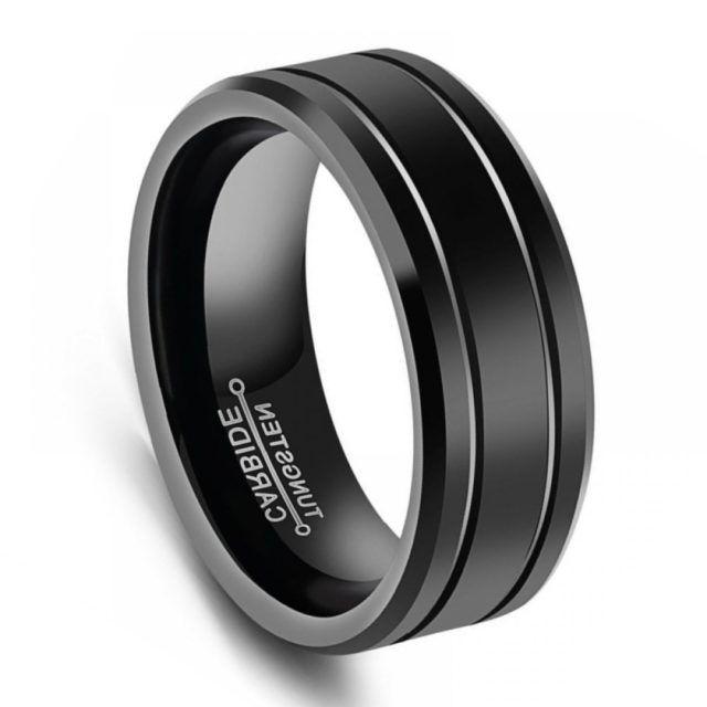 Black Tungsten Mens Ring 8mm Grooved Tungsten Wedding Band In 2020 Tungsten Mens Rings Black Tungsten Mens Rings Mens Wedding Bands Tungsten