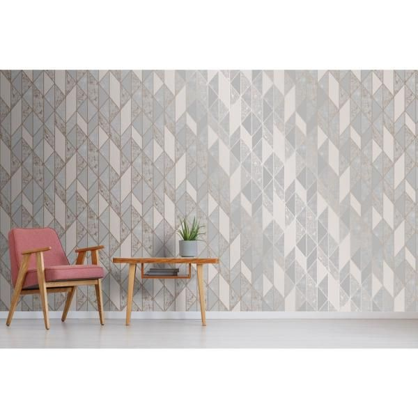 Super Fresco Milan Geo Vinyl Peelable Roll Covers 56 Sq Ft 106407 The Home Depot Grey Removable Wallpaper Grey Wallpaper Rose Gold Wallpaper