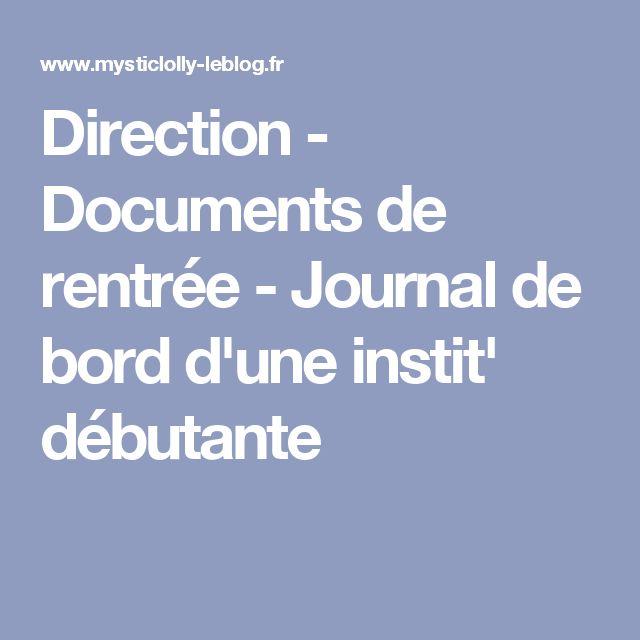 Direction - Documents de rentrée - Journal de bord d'une instit' débutante