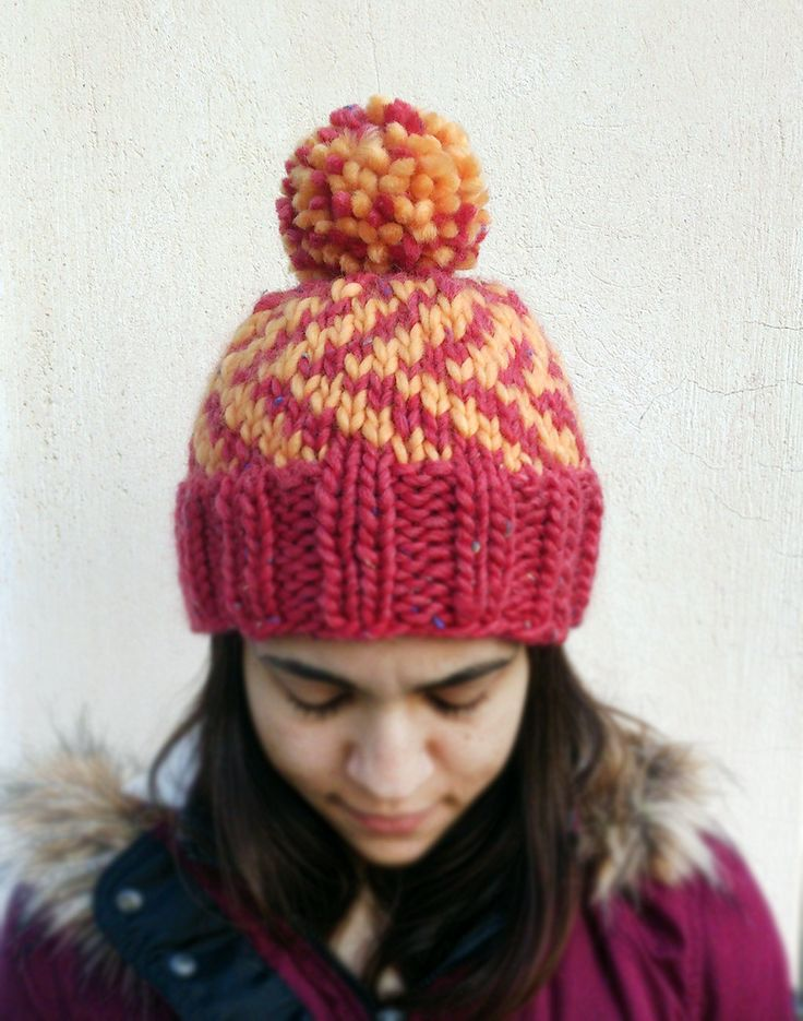 Knit Fair Isle Bulky Hat, Knit Multicolor Fair Isle Hat, Hand Knit Fair Isle Hat Pom Pom, Fair Isle Beanie, Bulky Pink Yellow Knit Hat by ManaKori on Etsy