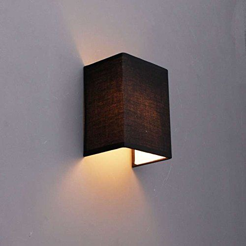 Unique QAZQA Modern Wandleuchte Vete schwarz Textil W rfel Rechteckig f r LED geeignet E