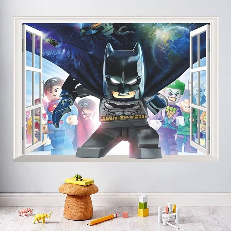 Lego Batman smashed wall sticker kids childrens