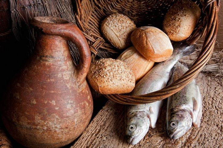 five small loaves of barley bread and two small fish | Jesus ...