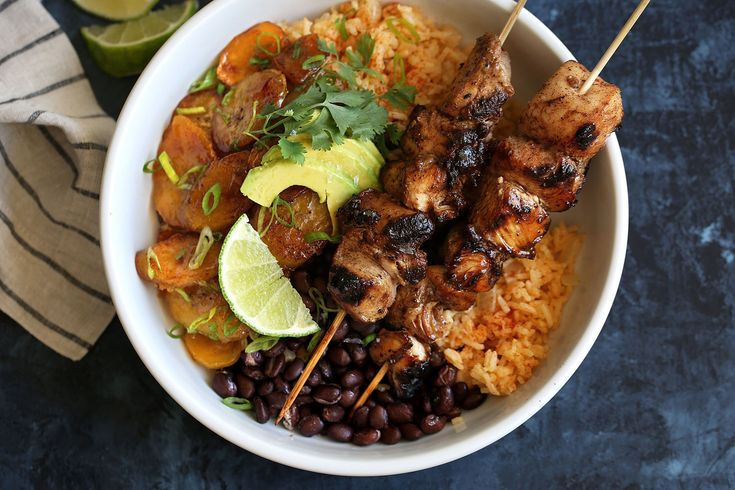 Jerk Chicken Skewers with Sweet Plantains, Yellow Rice & Black Beans