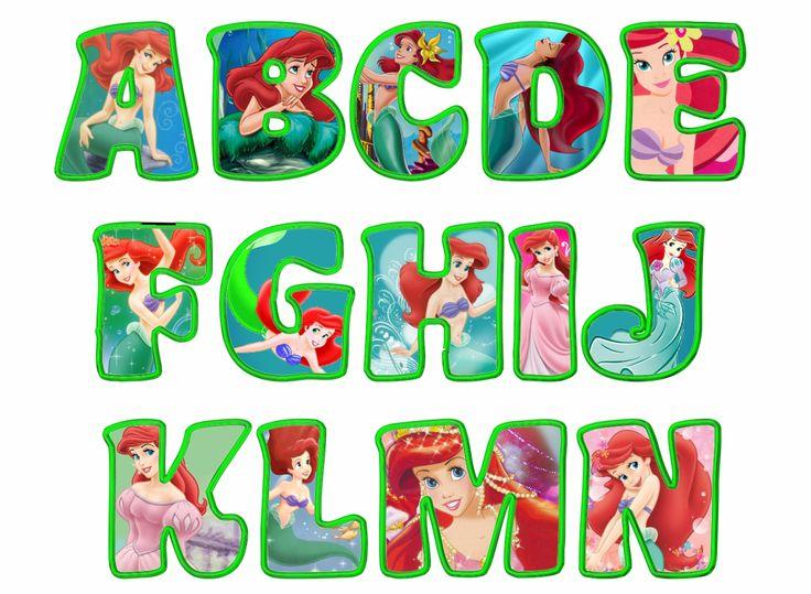 Alfabeto de la Sirenita en diferentes poses.