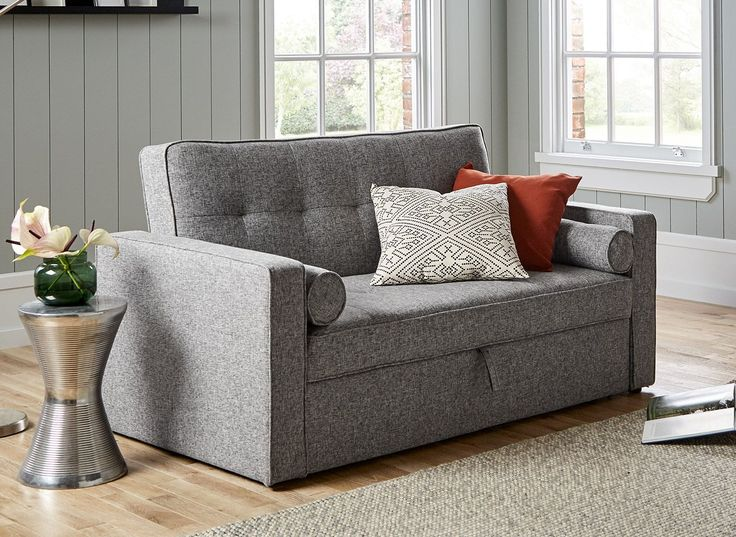 The Haze 2 seater sofa bed combines practicality with versatility for this charming sofa bed solution. To use, simply pull out the drawer underneath the seats and lift the handle to pop out the sofa bed mechanism to create an occasional sleeper.