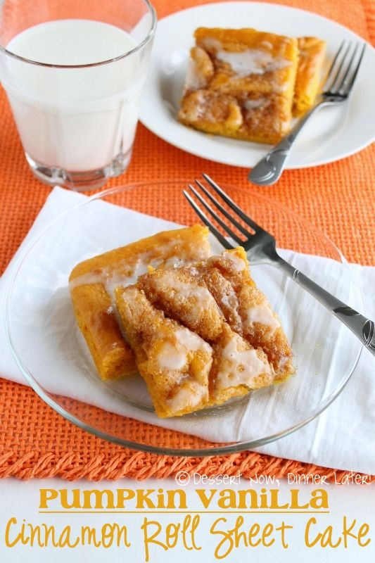 Pumpkin Vanilla Cinnamon Roll Sheet Cake on MyRecipeMagic.com #roll #cinnamon #pumpkin #vanilla #sheetcake