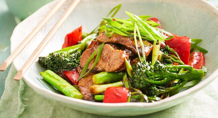 Mongolian lamb and broccolini stir-fry