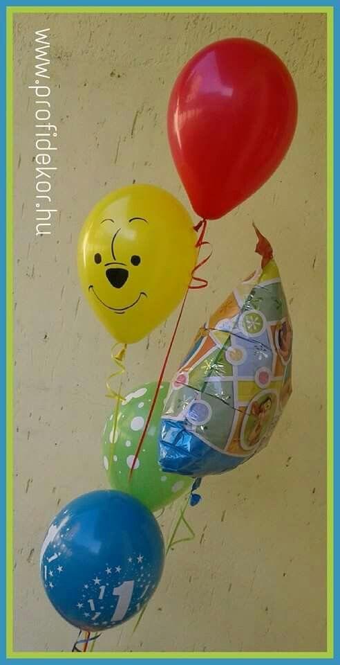 1th birthday, Pooh, Micimackó, balloon, hélium, léggömb