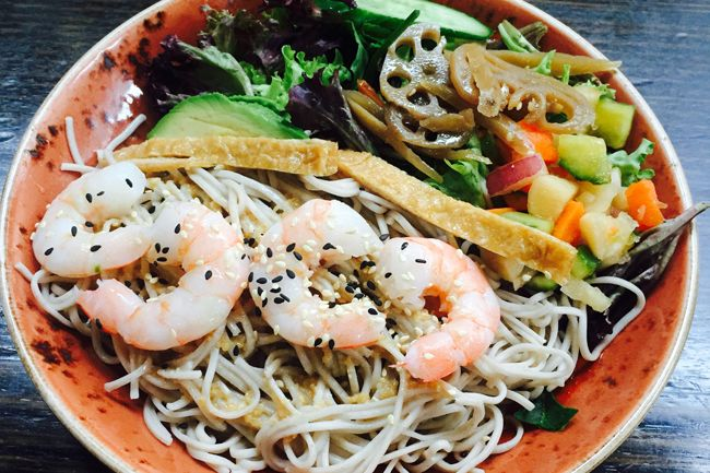 Prawn & sesame soba salad from Purple Peanuts. Photo: supplied.