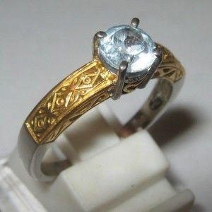 Cincin Pria Blue Topaz Silver Etnis Ring 8US