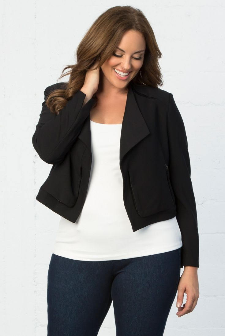 Add a classic, put-together look to your jeans with the plus size Leigh Jacket by Lyssé. Shop the entire collection, as well as our made in the USA styles online at www.kiyonna.com.