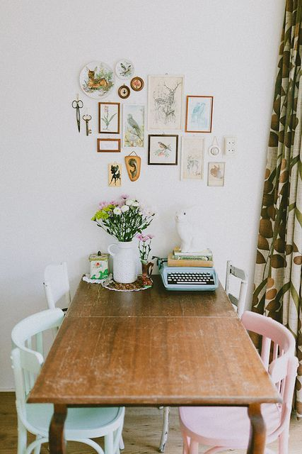 home, studio, desk, table, dining room, type writer, flowers, colour, interiors, style, frames, art, detail, painted wooden chairs