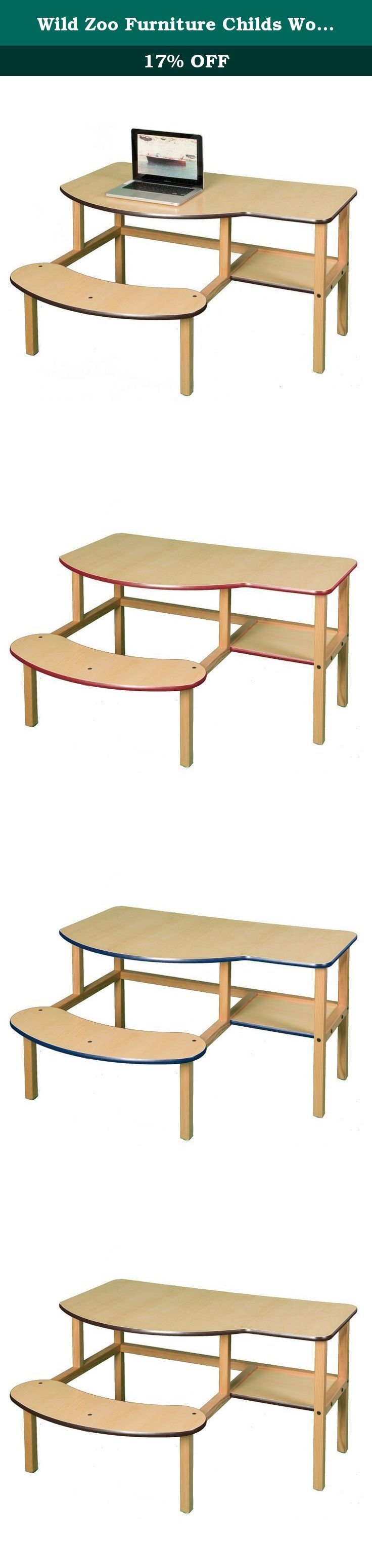 Wild Zoo Furniture Childs Wooden Computer Desk for 1 to 2 Kids, Ages 2 to 5, Maple/Brown. A computer desk designed especially for preschoolers, this desk comfortably fits one or two children ages 2 to 5 years old on the large 30.5-Inch wide seat. deep enough for a full size desktop computer with solid wood legs and frame, sturdy laminated top with rounded corners and dent resistant edge banding. the attached seat means that the desk always has a chair with it and the seat won't tip over....