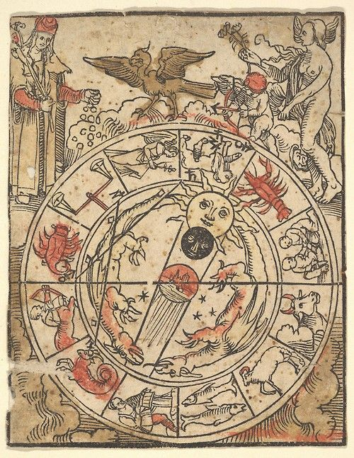 Hans Baldung Grien - Chart of the Signs of the Zodiac with Venus, Cupid, and a Bishop Saint. N.d. / Sacred Geometry <3