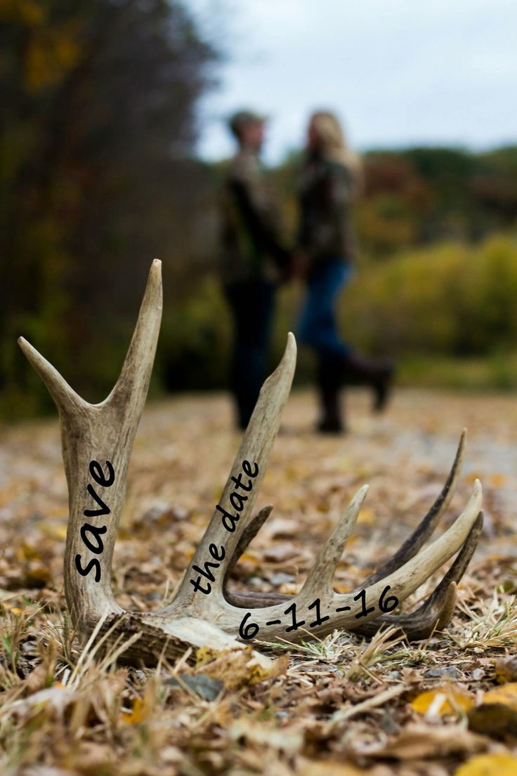 Deer Antler Engagement Picture Save The Date Engagement Picture Idea
