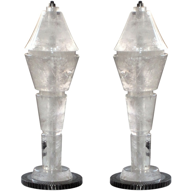 Large Pair of Rock Crystal Lamps