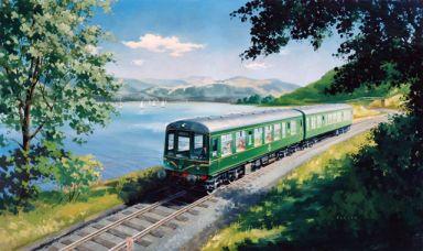 Diesel Trains - A Diesel Train on the Shore of Bassenthwaite Lake, near Keswick, Cumberland
