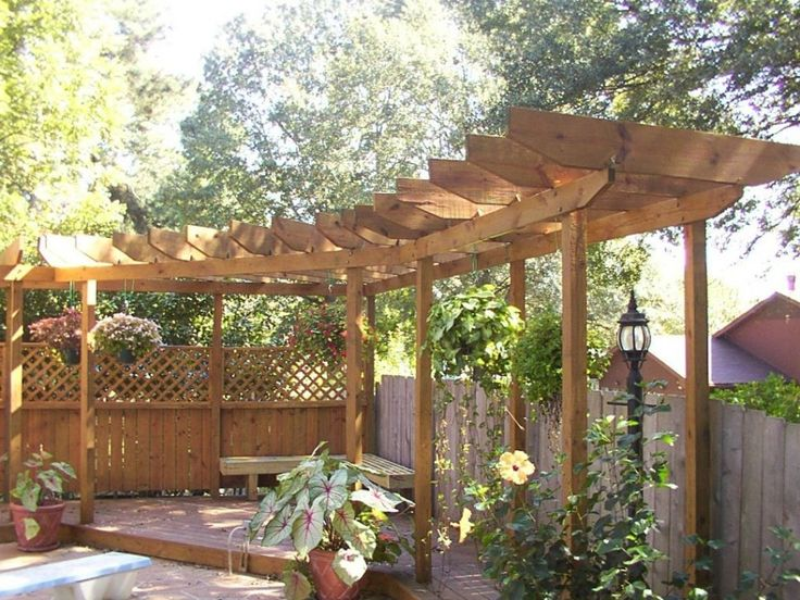 ExteriorSmall Curved Wooden Pergola Design For Corner Space Plus L Shape Bench And Hanging