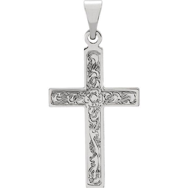 14K White Gold Cross Pendant with Design