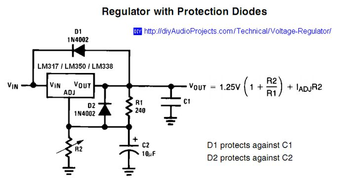 LM317 / LM338 / LM350 Voltage Regulator Schematic with Protection Diodes