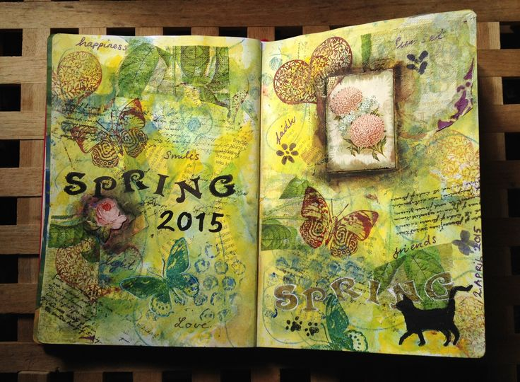 Art Journal # 6 - Spring 2015 Mixed medias, watercolor, acrylics and ink. Used stamps and different cut-outs