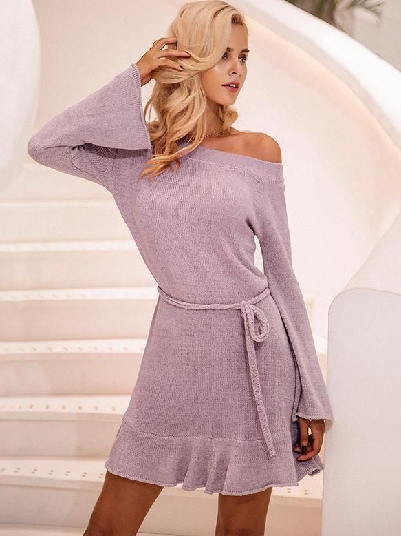 82212d785f4a Lace Up Off-the-shoulder Knitting Mini Dress