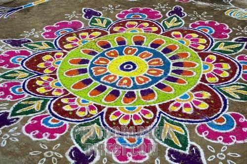 Rangoli - made with coloured rice, lentils and powder during Diwali, Hindu New Years and the Hindu Festival of Light