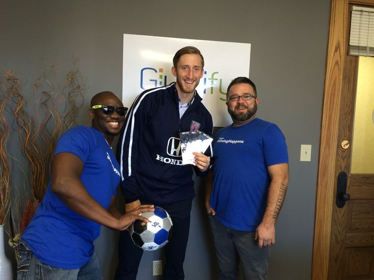 Givelify's own Walle and Matt posing with Cory Miller, center-back for Indy Eleven Professional Soccer. He stopped by to drop off some prizes for the Pack the Pantries contest. More info: http://blog.givelify.com/pack-pantries-donate-win