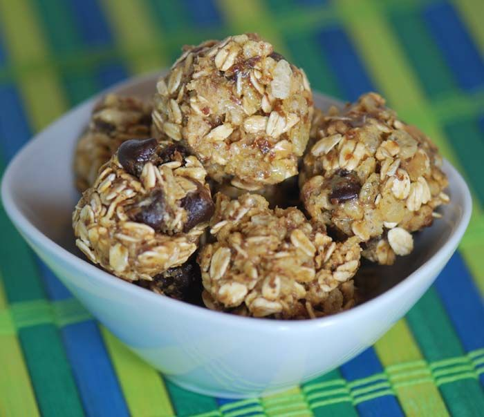 Energy Bars:  Ingredients:    1 cup oatmeal  1 cup toasted coconut flakes  1/2 cup chocolate chips  1/2 cup peanut butter  1/2 cup ground flaxseed  1/3 cup honey  1 tsp. vanilla