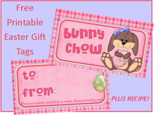 147 best easter treats crafts images on pinterest easter bunny chow free printable easter gift tags negle Images