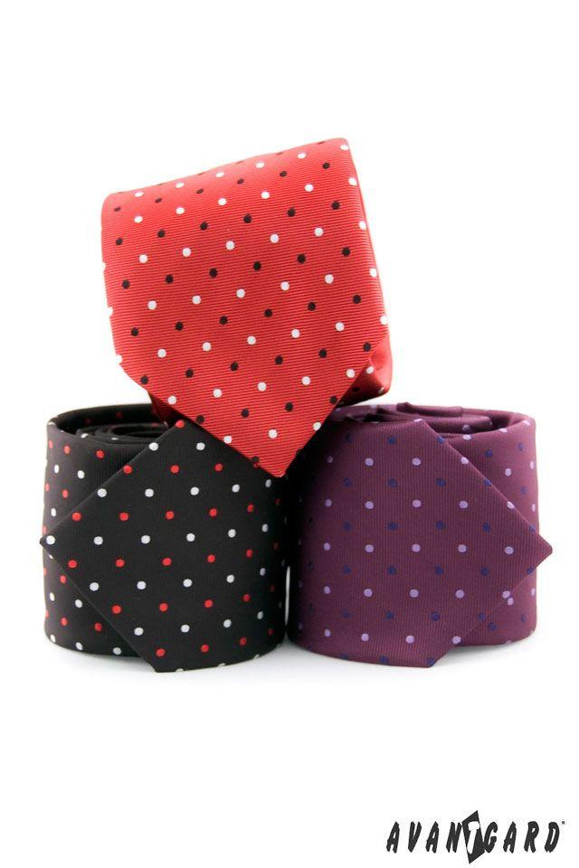 Červená, černá a fialová kravata značka AVANTGARD /// Red, black and violet tie - brand AVANTGARD