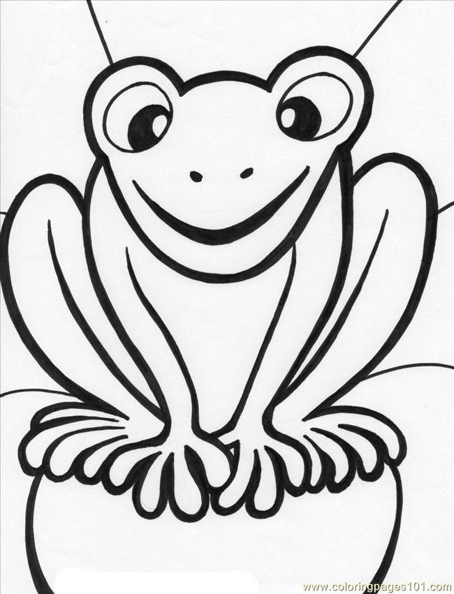 Frog Printable Coloring Page Princess Kissing Amphibians Car