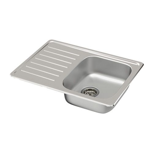 FYNDIG Évier à 1 bac+égouttoir IKEA Évier en acier inoxydable, un matériau hygiénique, solide, résistant et facile d'entretien.
